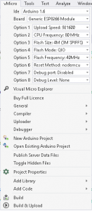 Menu de arduino para visual studio